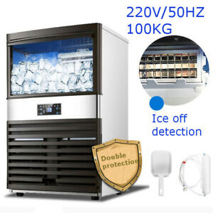 100kg Auto Commercial Ice Cube Maker Stainless Steel Machine Bar Drink Frozen
