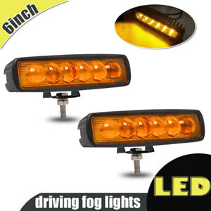 2pcs Amber Light Slim 18w 6 Led Driving Work Car Suv Truck Offroad Fog Spot Lamp