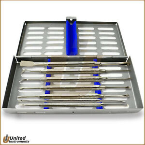 Dental Surgery Implant Periosteal Elevators 7pcs With Surgical Cassette Tray Box