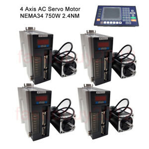 4axis 750w Ac Servo Motor 2 4nm 220v Driver Kit Nema34 cnc Controller For Router