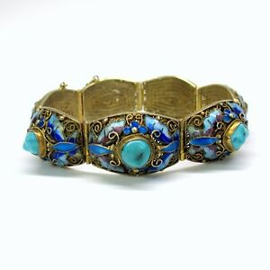 Antique Chinese Silver Gilt Enamel And Turquoise Bracelet