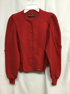 Geiger Womens Pure New Wool Cardigan Sweater Size 42 Red