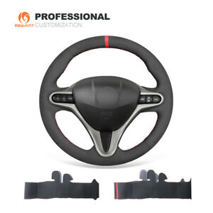 Black Suede Car Steering Wheel Cover For Honda Civic 8 For Acura Csx 3 Spokes
