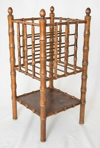 Tall Vintage Mid Century Faux Bamboo Tiered Magazine Rack Book Stand With Shelf