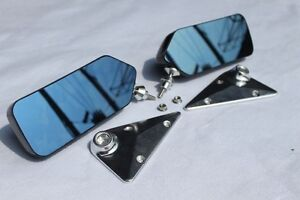 Universal Real Carbon Fiber Jdm Craft Square Side Mirror Cover With Blue Lens