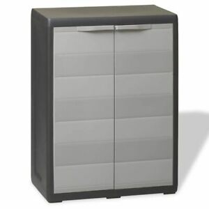 Us Stock Garden Storage Cabinet With 1 Shelf Black And Gray