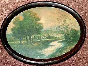 Beautiful Vintage Oval Metal Frame With Nature Scene