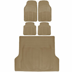 Rubber Car Floor Mats 5 Pc Front Rear And Cargo Trunk Liner Auto Truck Suv Van