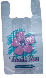 T shirt Bags 1 6 Large White Color Printed Thank You Hawaiian Flower 30 Microns