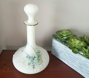 Victorian Embossed Handpainted Decanter Barber Bottle With Original Stopper