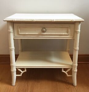 Vintage Thomasville Allegro Faux Bamboo Fretwork Nightstand Table Accent End