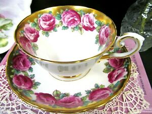 Tuscan Tea Cup And Saucer Painted Red Roses Gold Gilt Pattern Teacup Tuscan Rose
