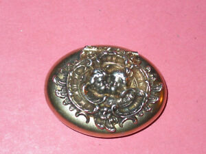 Kissing Cupids By Kerr Sterling Art Nouveau Oval Pill Box Vintage Antique