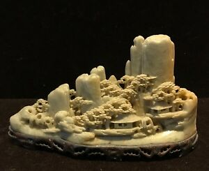 Chinese Hand Carved Stone Mountains Trees Village Landscape View On Stone Base