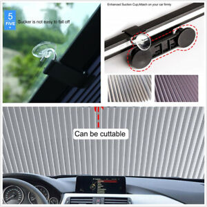 Car Retractable Windshield Visor Sun Shade Folding Block Visor Cover With Sucker