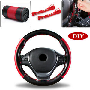 1x Leather 38cm Diy Car Steering Wheel Cover W Thread And Needle Tool Black Red