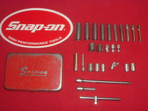 Vintage Snap on Tools 1 4 Dr 26 Pc Standard Chrome Sockets In Kra 255 Metal Box