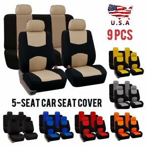 Hot 9pcs Set Universal Car Seat Covers Front Rear Seat Back Head Rest Protector