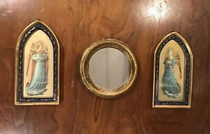 Vintage Gold Gilt Wood Italian Florentine Angel Icon Picture Plaque Mirror Lot