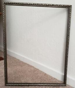 Vintage 1940 S Wood 11 X 14 Art Deco Old Silver Tone Picture Frame