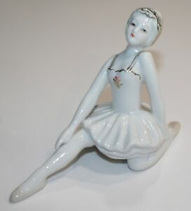 Ballerina Girl Porcelain Figurine With Gold Trim