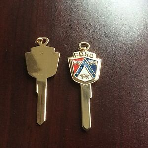7 Vintage Gold Plated Ford Key Blank