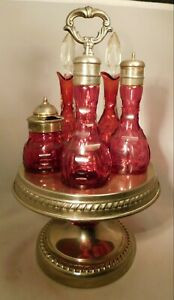 Old Antique Cranberry Glass Cruet Set