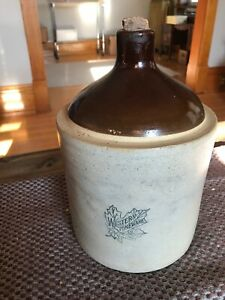 Vintage Western Stoneware 1 Gal Moonshine Whiskey Jug Decor Bottle