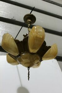 Antique Art Deco Slip Shade Ceiling Light Fixture Chandelier 6 Shades Markel