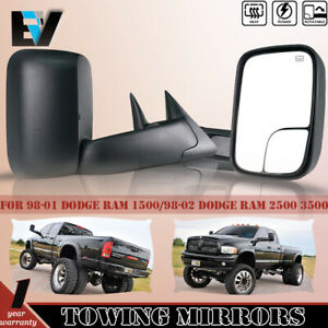 Tow Mirrors Pickup Flip Up Power Heated Fit 98 01 Dodge Ram 1500 98 02 2500 3500