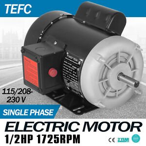 1 2 Hp Electric Motor 1 Ph 1750rpm 5 8 shaft 115 230 V Applicable Machinery