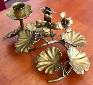 Vintage Gold Painted Made In Italy Single Metal Tole Candle Holder