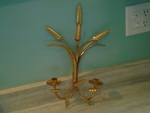 Vintage Italian Gold Florentine Tole Wall Hanging Candle Holder With Italy Tag