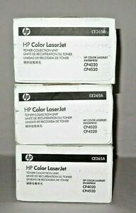 Lot Of 3 Genuine Hp Ce265a Waste Toner Collection Units Cp4020 Cp4520 Sealed