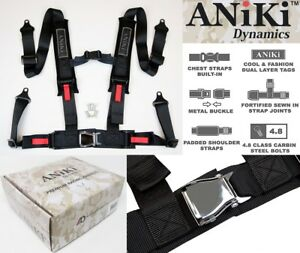 Aniki Black 4 Point Aircraft Buckle Seat Belt Harness W Ultra Shoulder Pad New