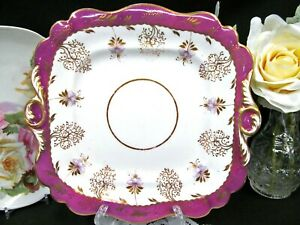 Antique 1860 S Ridgway Pottery Fuchsia Band With Gold Gilt Cake Plate Platter