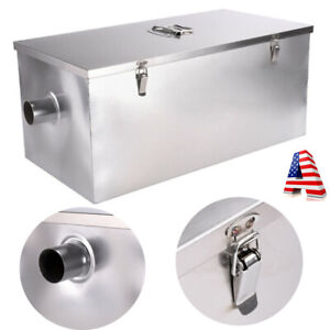 25lb 13gpm Stainless Steel Grease Trap Interceptor Restaurant W Filter Basket