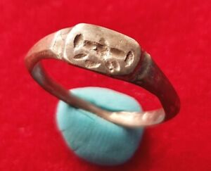 Beautiful Ancient Roman Silver Engraved Signet Ring Medical Tool Engraved