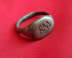 Roma Rma Ancient Roman Authentic Silver Engraved Ring 150 Ad