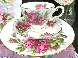 Tuscan Tea Cup And Saucer Moss Rose Pattern Pink Rose Teacup Trio 1930 S