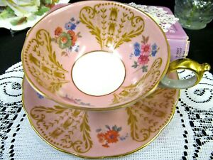 Royal Bayreuth Tea Cup And Saucer Pink Floral Pattern Teacup Us Germany Zone