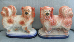 Pair Of Antique Staffordshire Spaniel Dogs With Cobalt Base