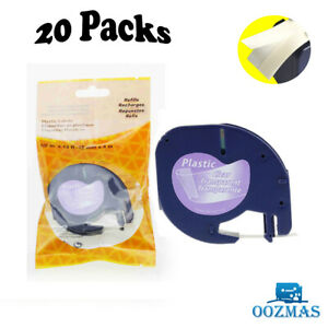 20pk 16952 12267 Label Tape Compatible With Dymo Letratag Clear 1 2 Lt 100t