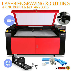 100w Laser Engraving Machine Rotary A axis 3 jaw Carving Cutter Woodworking