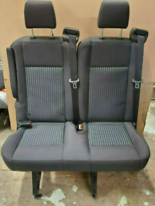 2015 2018 Ford Transit Van 2 Person Bench Seat Black Cloth With Brackets Inv 5
