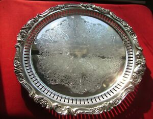 Baroque Pattern 13 1 2 Footed Pierced Serving Platter By Wallace Silver Plate
