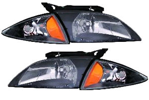 2000 2002 Chevrolet Cavalier New Headlight Signal Unit Black Bezel Pair L