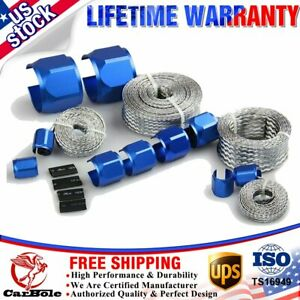 New Braided Hose Sleeve Sleeve Kit Radiator Vacuum Heater Fuel Line Hose Blue