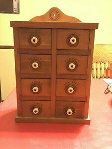 Vintage Stenciled Spice 8 Drawer Wall Cabinet With Porcelain Knobs