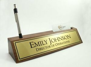 Desk Name Plate Card Pen Holder Walnut Wood Brushed Gold Color Aluminum Plate